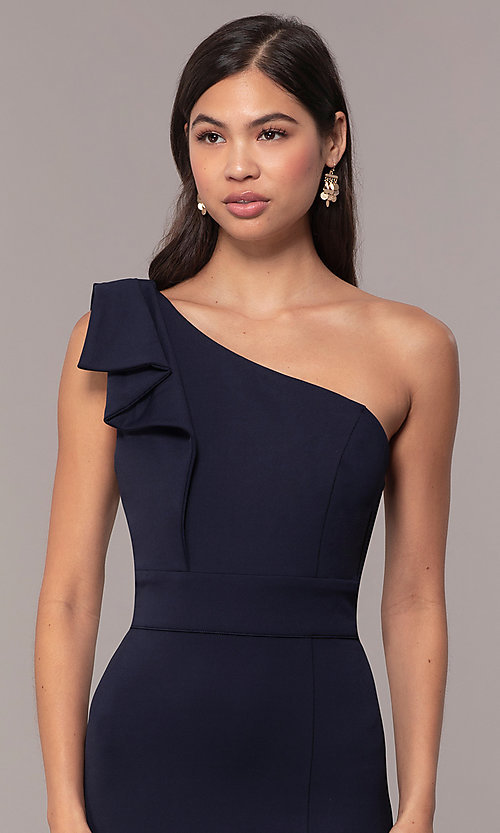 Image of navy one-shoulder pleated ruffle long prom dress. Style: MT-9670 Detail Image 1