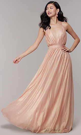 Gathered-Bodice V-Neck Long Prom Dress by Simply