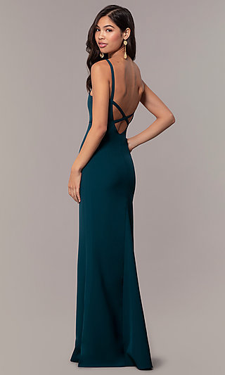 Empire-Waist Long Square-Neck Teal Blue Prom Dress