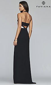 Image of long two-tone designer prom dress with cut outs. Style: FA-S10236 Back Image