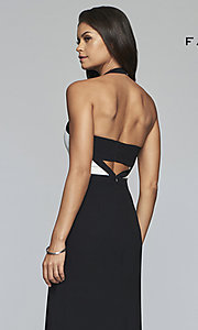 Image of long two-tone designer prom dress with cut outs. Style: FA-S10236 Detail Image 2