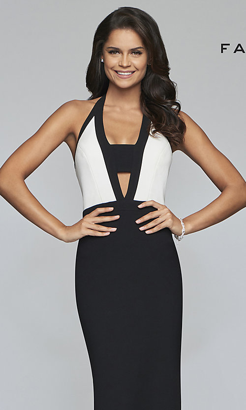 Image of long two-tone designer prom dress with cut outs. Style: FA-S10236 Detail Image 1