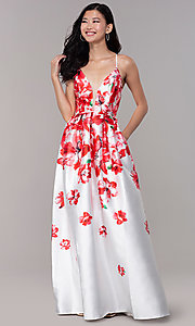 Image of long floral-print sheer-v-neck prom dress. Style: SOI-M18479 Detail Image 3