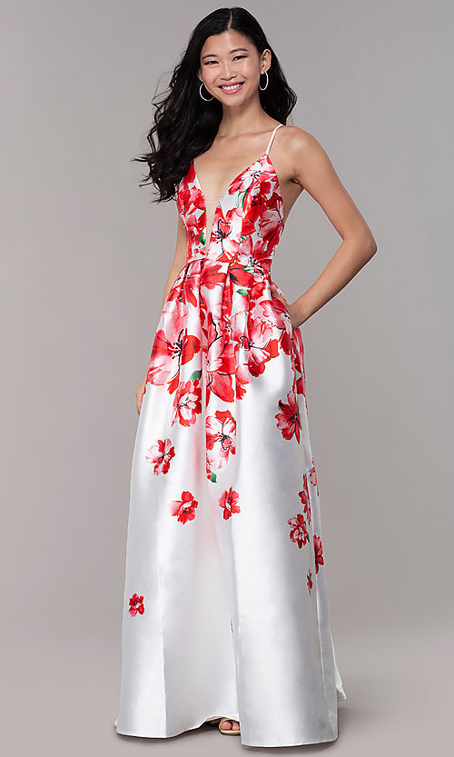 Image of long floral-print sheer-v-neck prom dress. Style: SOI-M18479 Front Image