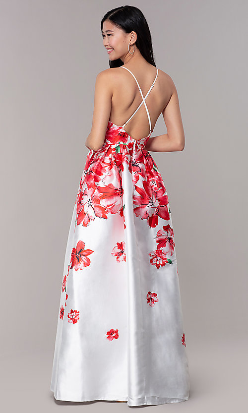 Image of long floral-print sheer-v-neck prom dress. Style: SOI-M18479 Back Image