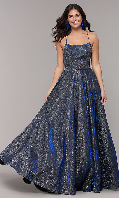 Image of long iridescent jersey square-neck prom dress. Style: PO-8472 Front Image