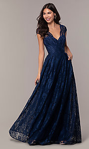Image of open-back lace a-line long prom dress by PromGirl. Style: LP-PL-25243 Front Image