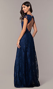 Image of open-back lace a-line long prom dress by PromGirl. Style: LP-PL-25243 Back Image