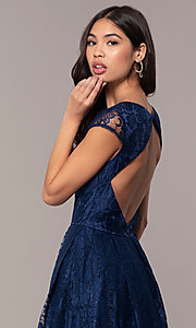 Image of open-back lace a-line long prom dress by PromGirl. Style: LP-PL-25243 Detail Image 2