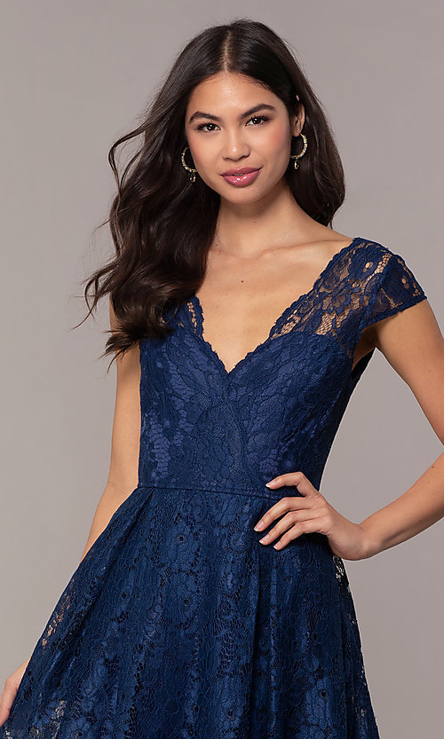 Image of open-back lace a-line long prom dress by PromGirl. Style: LP-PL-25243 Detail Image 1