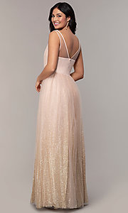 Image of glitter-tulle long v-neck prom dress by PromGirl. Style: LP-26059 Back Image