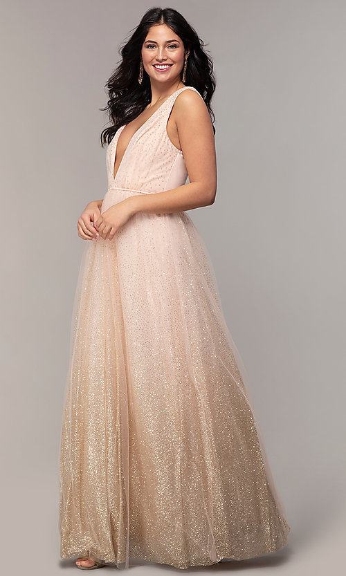 Image of glitter-tulle long v-neck prom dress by PromGirl. Style: LP-26059 Front Image
