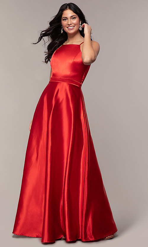 Image of high-square-neck long a-line satin prom dress. Style: LP-25559 Detail Image 3
