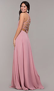 Image of long chiffon lace-up-back prom dress by Simply. Style: SJP-SD-AS111 Detail Image 4