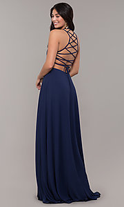 Image of long chiffon lace-up-back prom dress by Simply. Style: SJP-SD-AS111 Front Image
