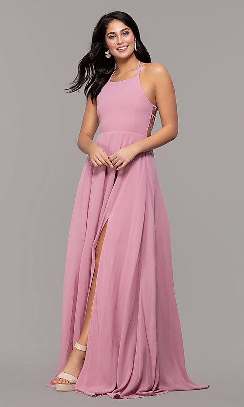 Image of long chiffon lace-up-back prom dress by Simply. Style: SJP-SD-AS111 Detail Image 5