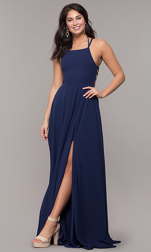 Image of long chiffon lace-up-back prom dress by Simply. Style: SJP-SD-AS111 Detail Image 3
