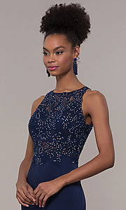 Image of embroidered-bodice long satin prom dress by PromGirl. Style: DQ-PL-2800 Detail Image 1