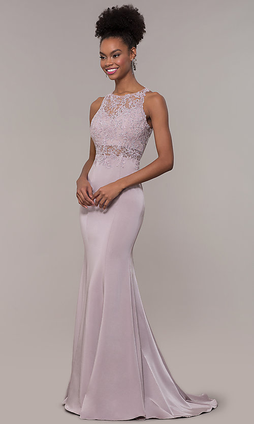 Image of embroidered-bodice long satin prom dress by PromGirl. Style: DQ-PL-2800 Detail Image 4