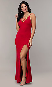 Image of double-strap long v-neck prom dress by Simply. Style: MCR-SD-2803 Back Image
