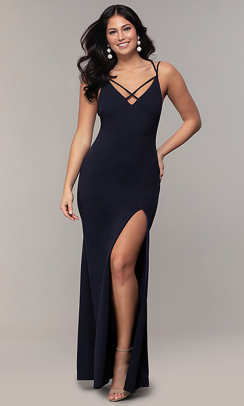 Image of double-strap long v-neck prom dress by Simply. Style: MCR-SD-2803 Detail Image 4