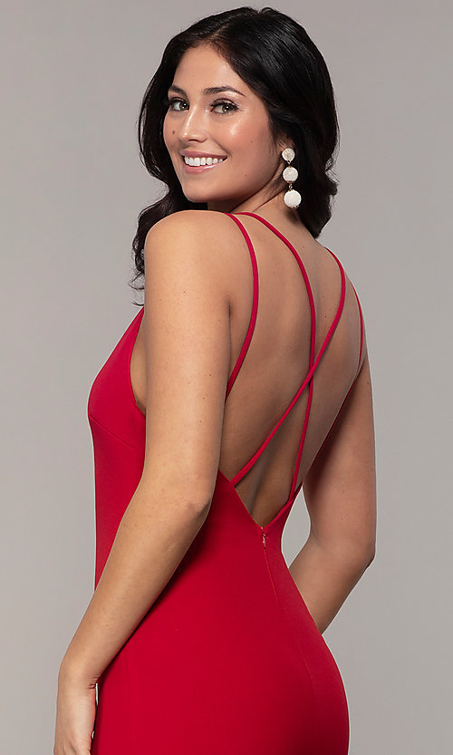 Image of double-strap long v-neck prom dress by Simply. Style: MCR-SD-2803 Detail Image 2