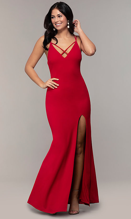 Image of double-strap long v-neck prom dress by Simply. Style: MCR-SD-2803 Detail Image 3