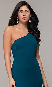 Image of one-shoulder strappy-back long prom dress by Simply. Style: MCR-SD-2808 Detail Image 1