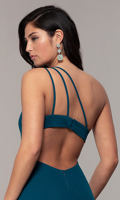 Image of one-shoulder strappy-back long prom dress by Simply. Style: MCR-SD-2808 Detail Image 2