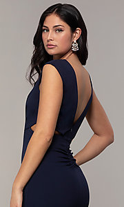 Image of bateau-neck long prom dress by Simply. Style: MCR-SD-3073 Detail Image 2