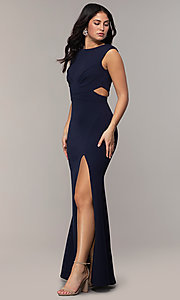 Image of bateau-neck long prom dress by Simply. Style: MCR-SD-3073 Detail Image 3