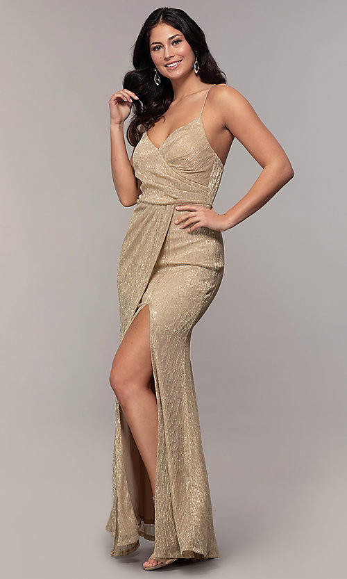 Image of long v-neck prom dress by Simply. Style: MCR-SD-2645 Detail Image 4