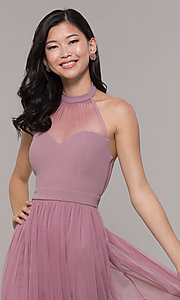 Image of long high-neck halter prom dress by Simply. Style: MCR-SD-3074 Detail Image 1