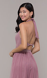 Image of long high-neck halter prom dress by Simply. Style: MCR-SD-3074 Detail Image 2