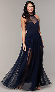 Image of long high-neck halter prom dress by Simply. Style: MCR-SD-3074 Detail Image 4