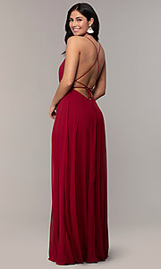 Image of long v-neck open-back prom dress by PromGirl. Style: MCR-PL-3065 Front Image