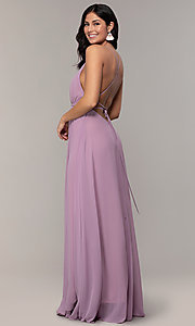 Image of long v-neck open-back prom dress by PromGirl. Style: MCR-PL-3065 Detail Image 5
