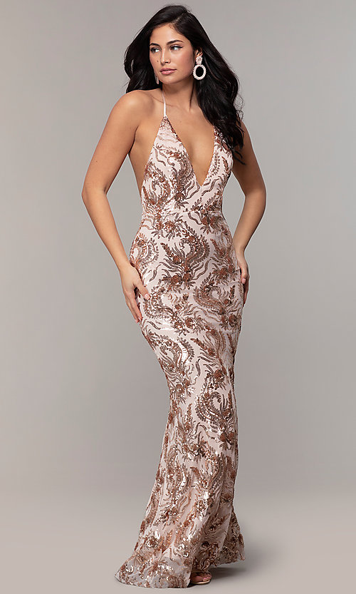 Image of sequin-mesh backless halter prom dress by PromGirl. Style: MCR-PL-2828 Front Image