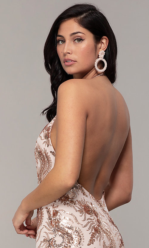 Image of sequin-mesh backless halter prom dress by PromGirl. Style: MCR-PL-2828 Detail Image 2