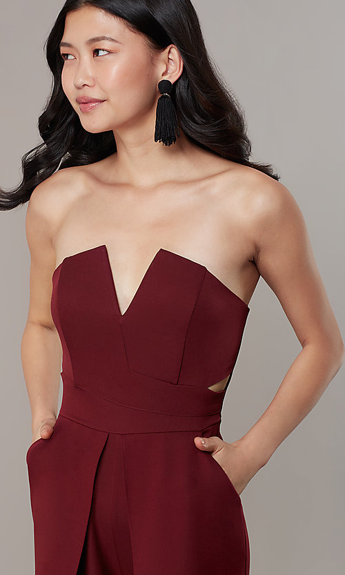 Image of strapless v-neck jumpsuit with wide wrap legs. Style: LUX-LJP3323 Detail Image 1