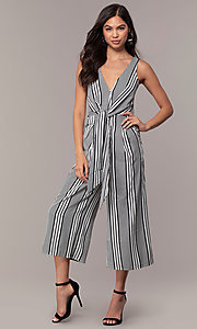 Image of v-neck cropped-leg striped party jumpsuit. Style: BLU-IBR1453-1 Front Image