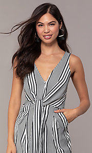 Image of v-neck cropped-leg striped party jumpsuit. Style: BLU-IBR1453-1 Detail Image 1