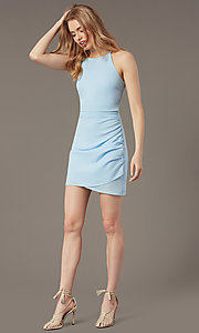Image of short high-neck wedding-guest party dress. Style: STO-JD1786C Detail Image 4