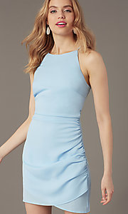 Image of short high-neck wedding-guest party dress. Style: STO-JD1786C Detail Image 6