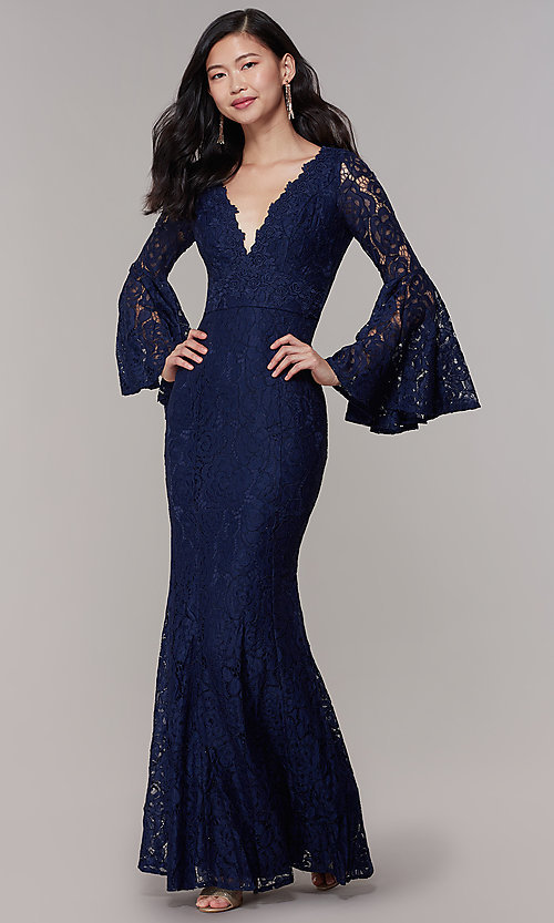 Image of long-sleeve lace mermaid prom dress in navy. Style: LP-25639 Front Image