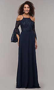 Image of long-sleeve mother-of-the-bride dress with lace. Style: LP-25858 Detail Image 3