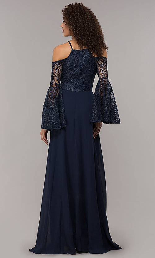 Image of long-sleeve mother-of-the-bride dress with lace. Style: LP-25858 Back Image