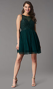 Image of short tulle a-line semi-formal party dress. Style: LP-25459 Detail Image 4
