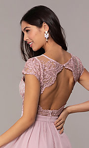 Image of short mauve grad party dress with embroidered bodice.  Style: LP-27813 Detail Image 2