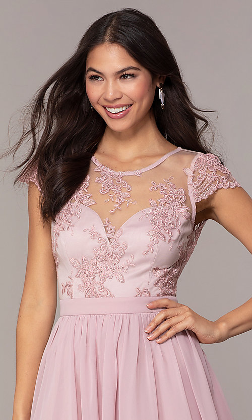 Image of short mauve grad party dress with embroidered bodice.  Style: LP-27813 Detail Image 1